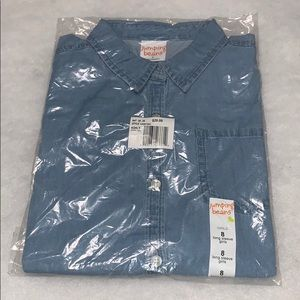 Girls chambrays button down long sleeves blue